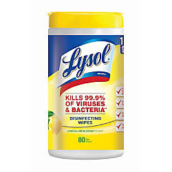 Lysol® Disinfecting Wipes, Lemon & Lime Blossom Scent, Tub Of 80