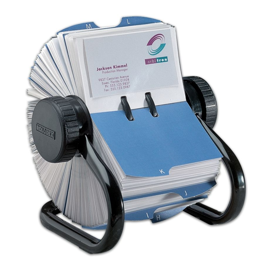 Rolodex Open Rotary Business Card File 600 Card Capacity Black by