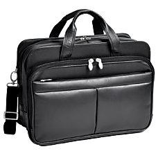 McKlein Walton Leather Expandable Briefcase Black