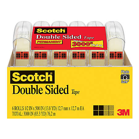 scotch double sided tape 12 x 499 clear pack of 6 by office depot officemax. Black Bedroom Furniture Sets. Home Design Ideas