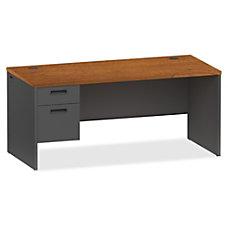Lorell CherryCharcoal Pedestal Desk 66 x