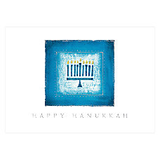 Personalized Holiday Cards Menorah In Blue