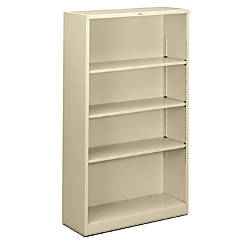 hon brigade steel bookcase 4 shelves putty by office depot