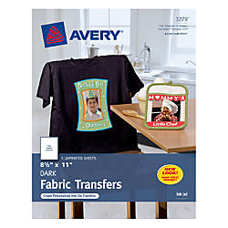 Avery Dark T Shirt Transfers For Inkjet Printers 8 12 X 11