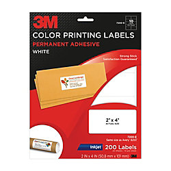 3m white inkjet shipping labels for color printing 2 x 4 pack of 200 by office depot officemax. Black Bedroom Furniture Sets. Home Design Ideas