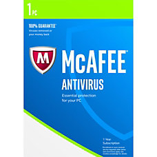 McAfee AntiVirus 2017 For 1 Device