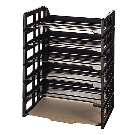 office depot brand 30 recycled ribbed bottom stackable letter trays black pack