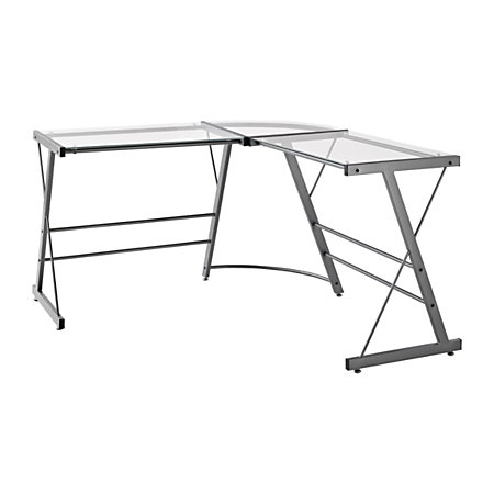 altra glass l shaped computer desk 30 h x 51 w x 51 d gray by office depot officemax. Black Bedroom Furniture Sets. Home Design Ideas
