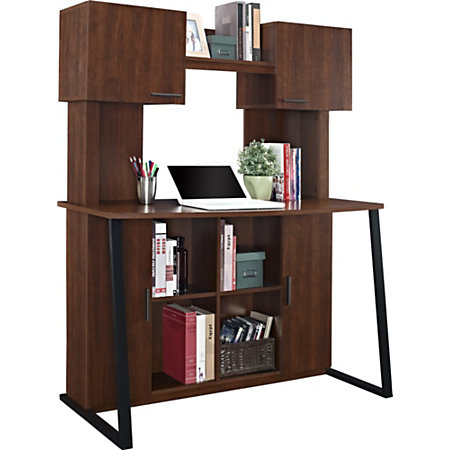 Altra wood computer desk with hutch cherry by office depot officemax - Cherry wood computer desk with hutch ...