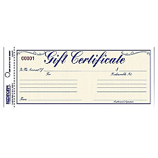 Rediform Gift Certificates w Envelopes 850