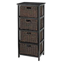 Realspace 4 Drawer Wood Storage Cabinet