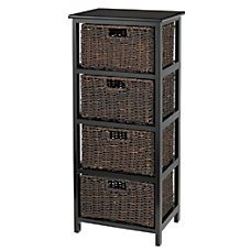 Realspace Wood Storage Cabinet 4 Wicker