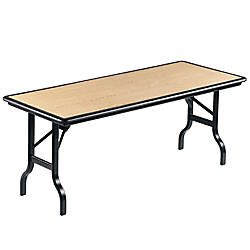 Iceberg indestructable folding table 30 x 72 oak by office for Office depot folding tables