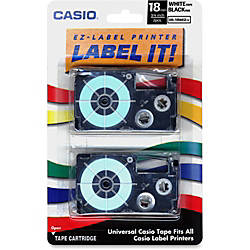 Casio XR18WE2S Black On White Tapes