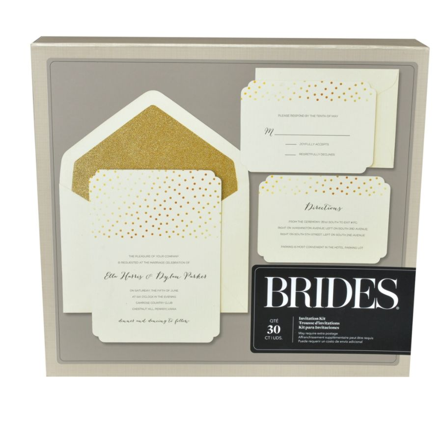 Superb BRIDES Foil Invitation Kit Gold Glitter Dot On White 5 X 7 Pack Of 30 By Office  Depot U0026 OfficeMax