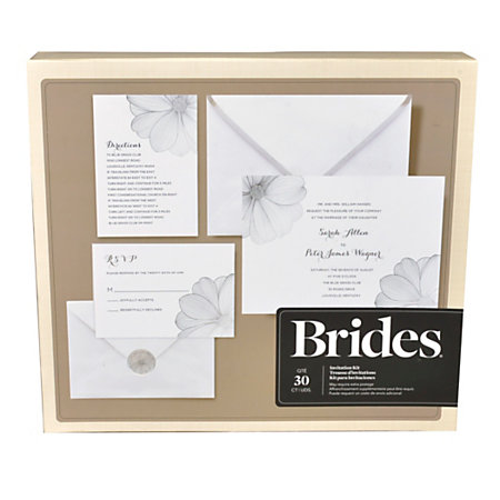 brides foil invitation kit metallic flower silverwhite 5 x With wedding invitations kits office depot