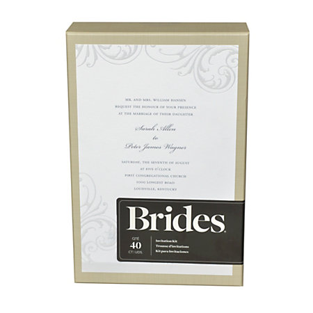 Brides white wisp invitation kit by office depot officemax for Wedding invitations kits office depot