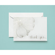 BRIDES Flower Thank You Cards WhiteSilver
