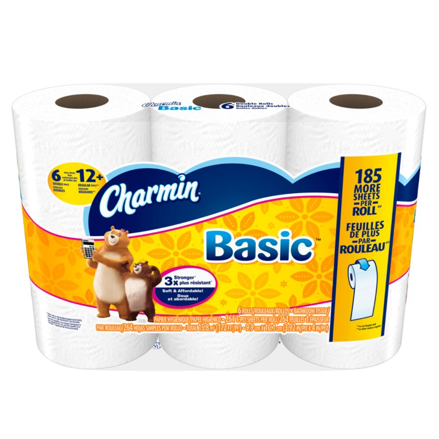 Charmin Basic Bathroom Tissue 264 Sheets Per Roll Pack Of 6 Rolls ...