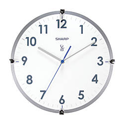 Sharp Atomic Round Wall Clock 11 WhiteSilver by Office