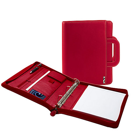 I E 3 Ring Padfolio With Retractable Handle 13 X 11 Red