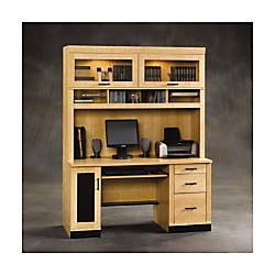 sauder office port computer desk mapleblack by office