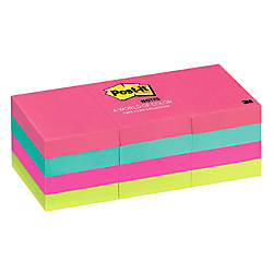 "Post-it® 1 1/2"" x 2"" Notes, Neon Collection, 100 Sheets Per Pad, Pack Of 12 Pads"