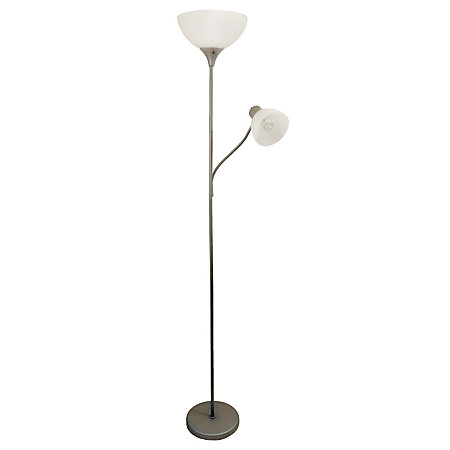 Simple Designs Floor Lamp With Reading Light 71 12 H Clear