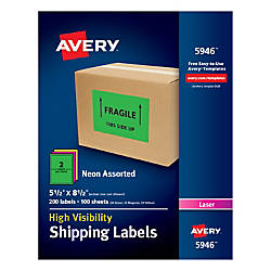 Avery Neon Shipping Labels 5 12