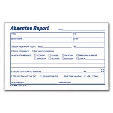 TOPS Absentee Report 6 x 4