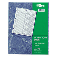 TOPS Inventory Sheets 11 x 8