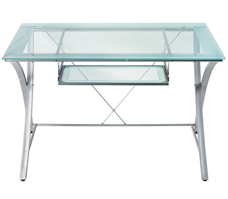 Realspace Zentra Computer Desk SilverClear by Office Depot & OfficeMax
