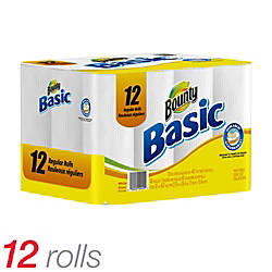 Bounty® Paper Towels, 1-Ply, 48 Sheets Per Roll, Case Of 12 Rolls