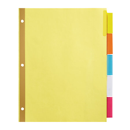 Office depot brand insertable dividers with big tabs buff for Office depot divider templates