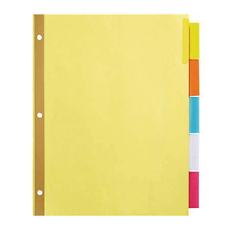 Office depot brand insertable dividers with big tabs buff for Pool 5 in 1 tabs