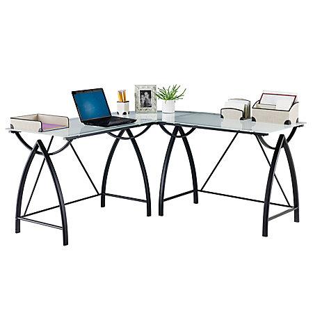 realspace alluna collection glass l shape desk 29 1 8 h x 60 5 8 w x 60 5 8 d black frame. Black Bedroom Furniture Sets. Home Design Ideas