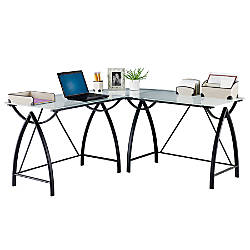 realspace alluna collection glass l shape desk black framefrosted glass by office depot officemax
