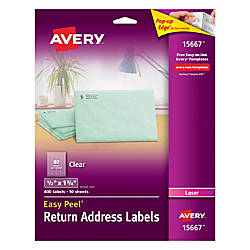 Avery Easy Peel Clear Laser Return