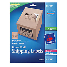 Avery Brown Kraft InkjetLaser Shipping Labels