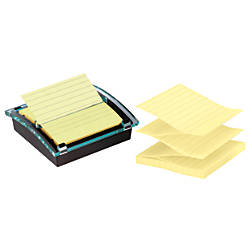 """Post-it® 4"""" x 4"""" Super Sticky Pop-up Notes With Designer Dispenser, Canary Yellow, 90 Sheets Per Pad, Pack Of 3 Pads"""