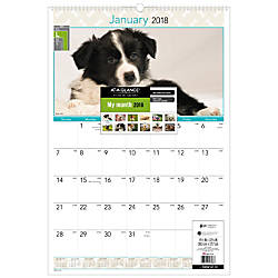 AT A GLANCE Puppies Monthly Wall