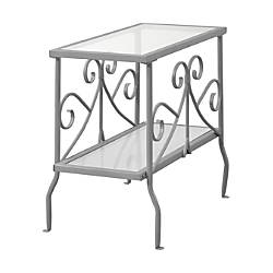 Monarch Specialties Side Table Rectangle ClearSilver