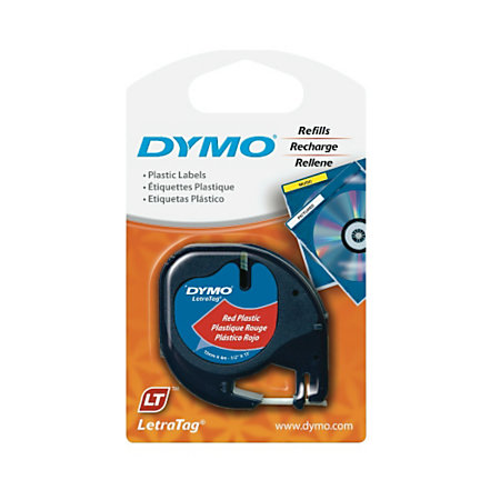 dymo letratag plastic label 12 x 13 black on black newell office depot