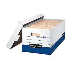 """Bankers Box® Presto™ 60% Recycled Storage Boxes, 10""""H x 12""""W x 24""""D, Letter, Pack Of 4"""