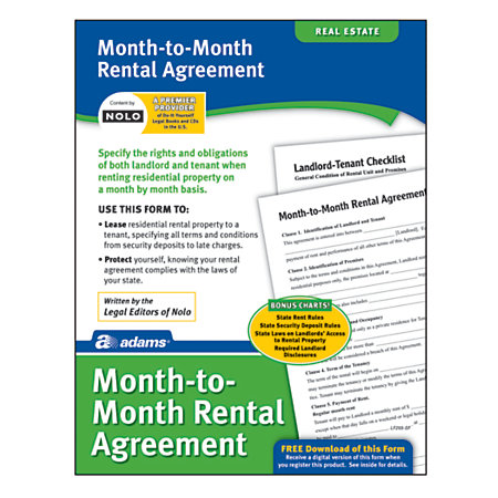 Adams Month to Month Rental Agreement by Office Depot OfficeMax – Month to Month Rental Agreements