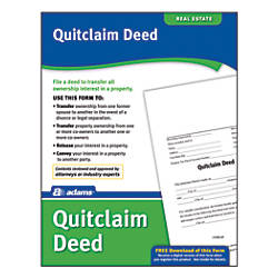 Adams Quitclaim Deed By Office Depot  Officemax