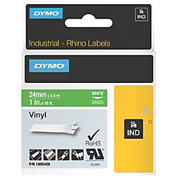 Dymo White on Green Color Coded