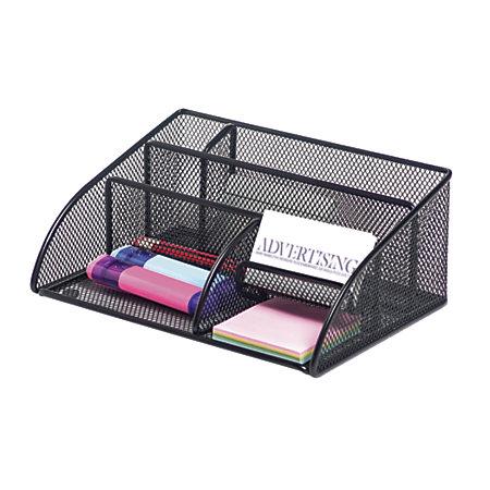 Brenton studio metro mesh angled desk organizer black by - Black mesh desk organizer ...