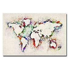 Trademark Global World Map Paint Splashes