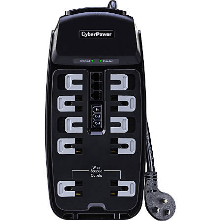 csp1008t professional 10 outlets surge suppressor 8ft cord and tel by office depot officemax. Black Bedroom Furniture Sets. Home Design Ideas